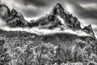 Zion - Snowfall on the Watchman (B&W)